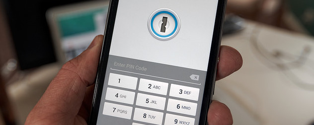 detail of a smartphone locked with LastPass encryption, prompting PIN entry