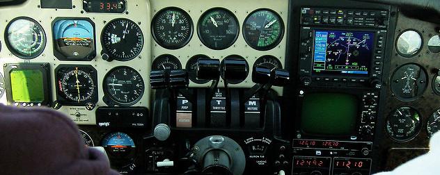 cockpit instruments in a Beechcraft Baron aircraft