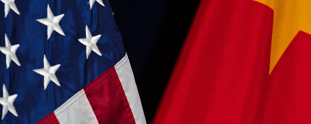 detail image of the flags of the United States and China