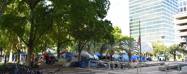 a collection of tents housing the homeless in downtown Fort Lauderdale, Florida
