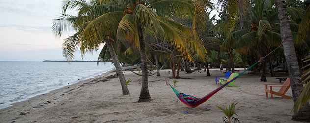 beach in Belize with a hammock