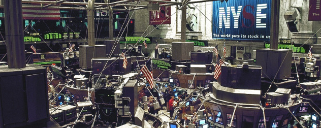 New York Stock Exchange trading floor, viewed from above.