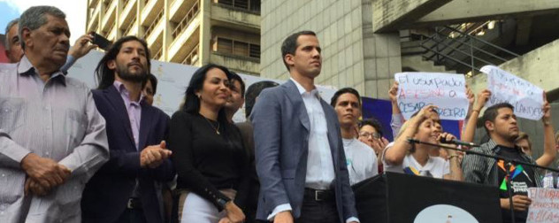 Juan Guaido with protesters