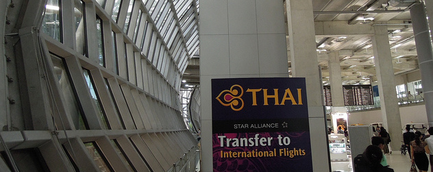 Star Alliance transfer to international flights sign in the Suvarnabhumi Airport.