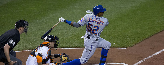 Cuban baseball player Yoenis Cespedes at bat for the New York Mets.