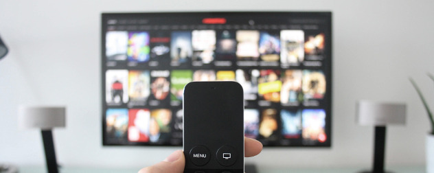 hand holding remote in foreground, TV menu out of focus in background.