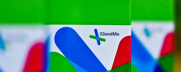 detail of 23andMe genetic testing kit package, circa 2010.