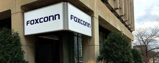 Foxconn sign on a building exterior.
