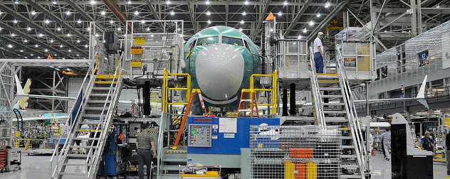 Boeing 737 MAX airliner on the assembly line.