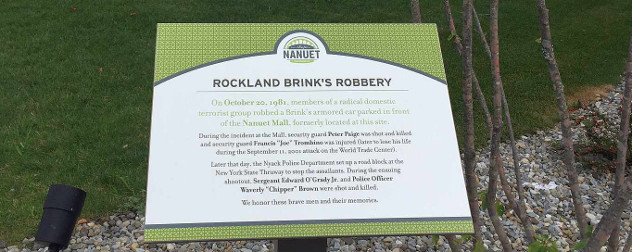 Rockland Brinks Robbery historical sign