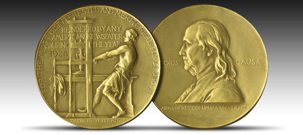 Pulitzer Prize medals, front and back.