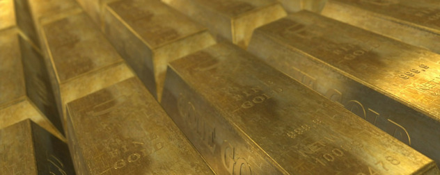 rows of gold bars, detail.