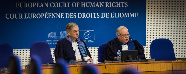 Erik Fribergh and Dean Spielmann on the bench of the European Court of Human Rights.