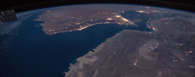 night view of the Gulf of Oman and the Strait of Hormuz as seen from space