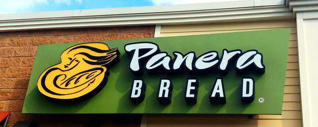 sign for Panera Bread, a brand owned by the Reimann family's JAB Holding Company.