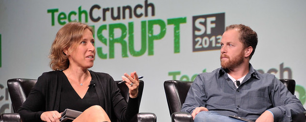 YouTube CEO Susan Wojcicki speaking at a TechCrunch conference in 2013, with David Prager.