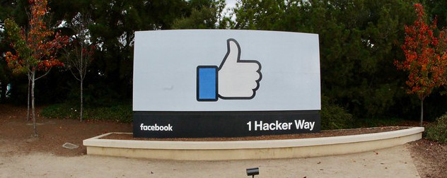 thumbs-up 'like' sign outside Facebook's corporate office.