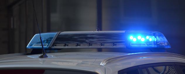 light bar on police car roof, detail.