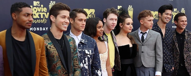 the cast of '13 Reasons Why' at the MTV Awards