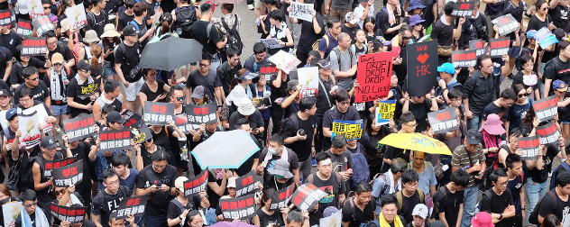 dense crowd of Hong Kong protesters, viewed from above.