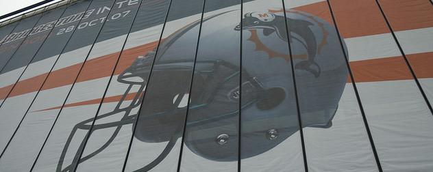 Miami Dolphins banner featuring team helmet.