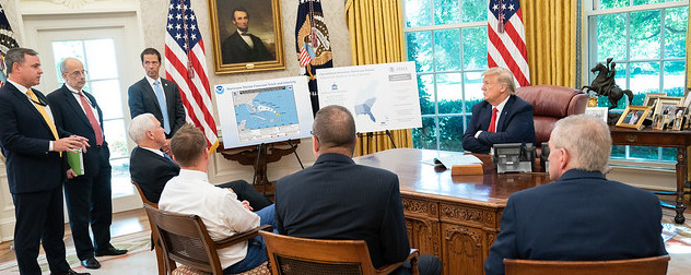President Trump at a Hurricane Dorian briefing.