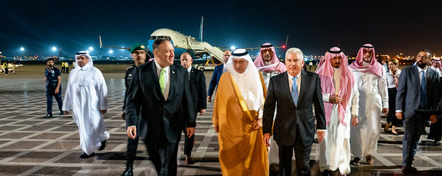 Michael R. Pompeo on the tarmac with others in Jeddah, Saudi Arabia following an attack attributed to Iran.