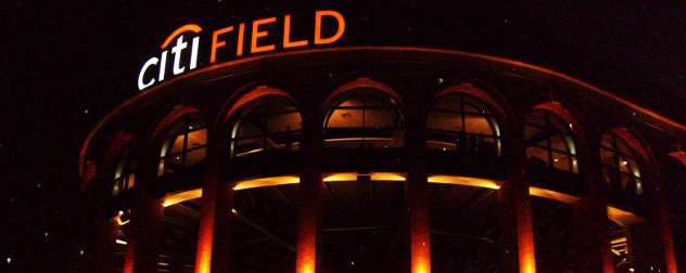 Citi Field exterior, night.