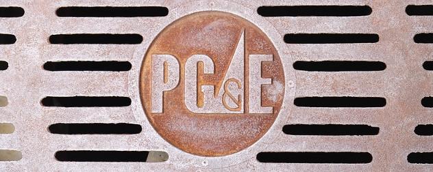 PG&E (a major California utility) logo on a grate.
