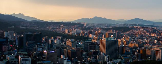 sunset over Seoul, South Korea skyline.