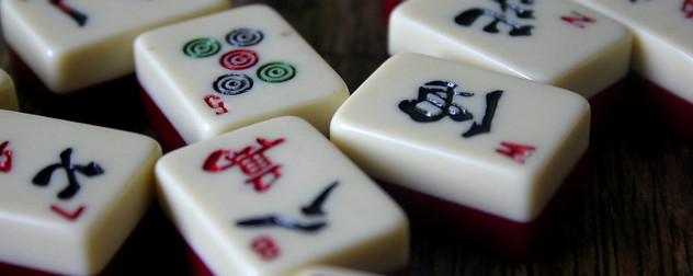 mahjong tiles, detail.
