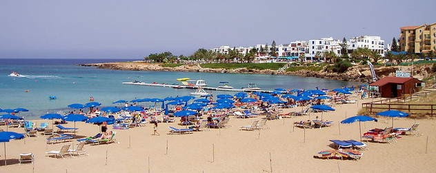 Protaras, Cyprus beach with tourists.