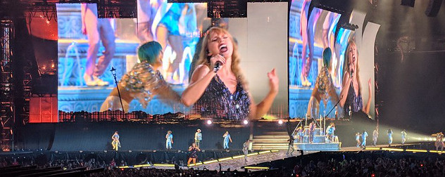 Taylor Swift onstage during her Reputation tour.