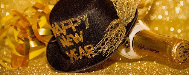 New Year's Eve hat and champagne bottle.