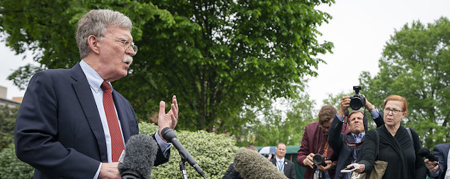 former White House National Security Advisor John Bolton speaking to the press.
