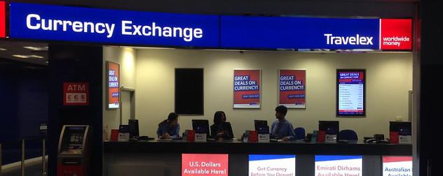 Travelex foreign exchange counter.