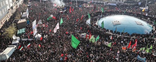 crowds in Tehran, Iran at the funeral of Qassem Soleimani.