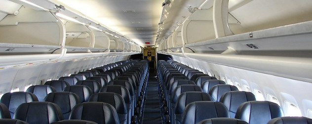 interior cabin of Allegiant Air's McDonnell Douglas MD-82.