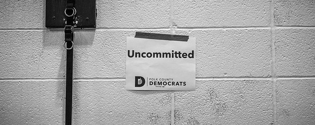 'uncommitted' sign at the Des Moines, Iowa Precinct 61 2020 Democratic caucus.