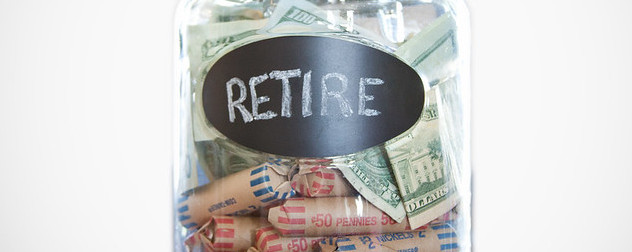 jar of currency labeled 'Retirement.'