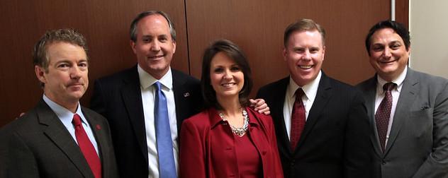 Rand Paul, Texas AG Ken Paxton, Angela Paxton, Wade Emmert and Steve Munisteri.