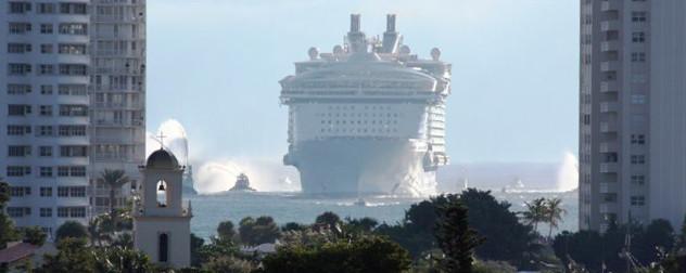 a cruise ship approaching Port Everglades, Florida.