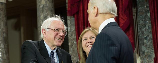 Senator Bernie Sanders with former Vice President Joe Biden