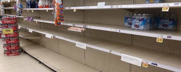 empty shelves at a Kroger.
