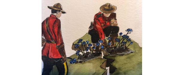Nova Scotia shooting memorial painting, with two Mounties planting flowers.