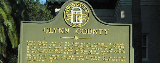 historical marker for Glynn County, Georgia.