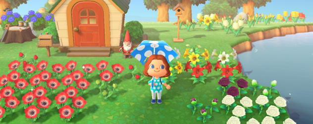 Animal Crossing New Horizons screenshot of a player character among flowers.