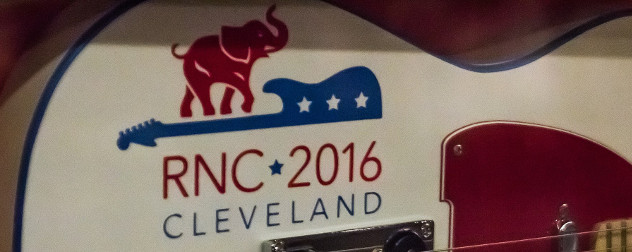Republican National Convention 2016 decal on a guitar (detail).