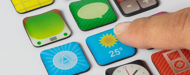 smart device with a user finger about to tap an icon for a weather app.