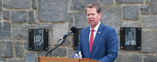 Governor Brian Kemp speaks during at Clay National Guard Center in Marietta, Georgia on May 21, 2020.